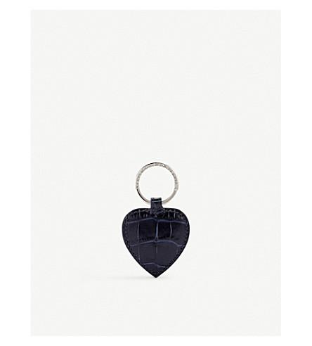 SMYTHSON Mara heart leather keyring (Navy