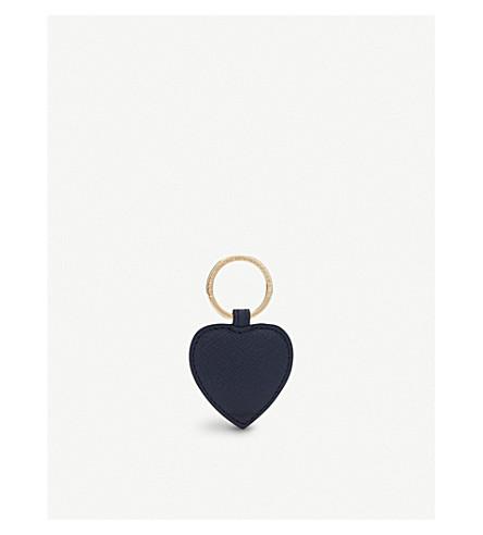 SMYTHSON Panama heart leather keyring (Navy