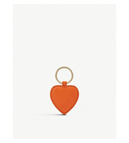 SMYTHSON Panama leather heart keyring (Papaya
