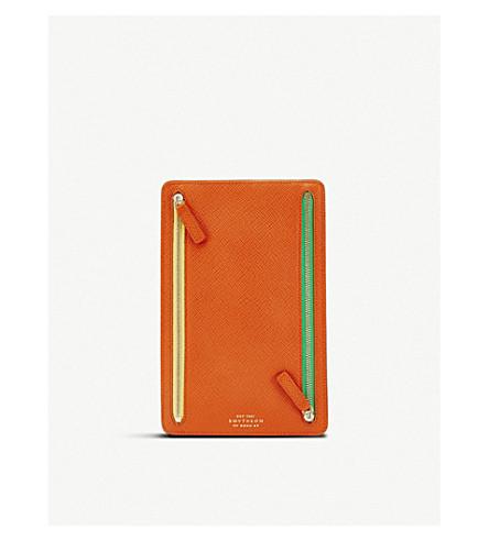 SMYTHSON Panama leather currency case (Papaya