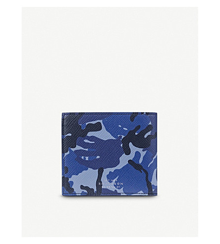 SMYTHSON Panama Wallet with coin pocket (Blue+camouflage
