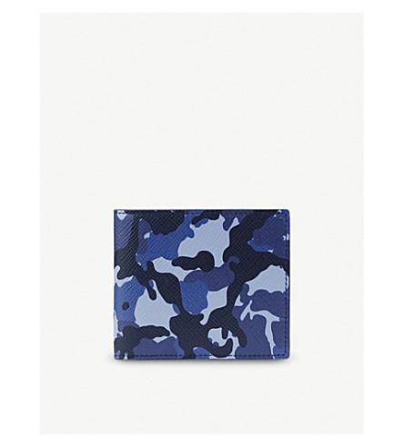 SMYTHSON Panama leather wallet (Blue+camouflage