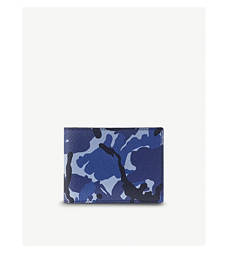 SMYTHSON Panama Multi-Currency wallet (Blue+camouflage