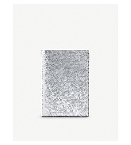SMYTHSON Panama Passport leather cover (Silver