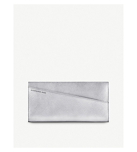 SMYTHSON Panama slim leather travel wallet (Silver