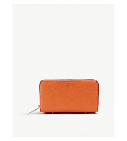 SMYTHSON Panama double zipped grained-leather travel wallet (Papaya