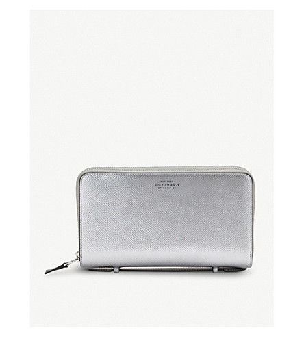 SMYTHSON Panama double zipped grained-leather travel wallet (Silver