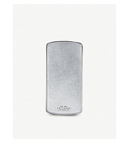 SMYTHSON Panama leather glasses case (Silver