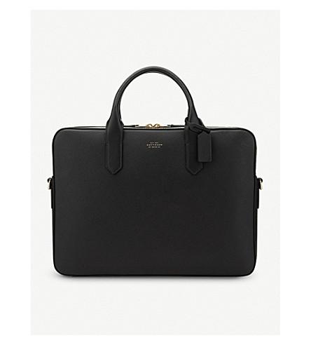 SMYTHSON Panama Slim Leather Briefcase (Black