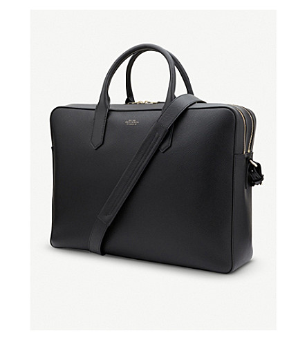SMYTHSON Panama Large Leather Briefcase (Black