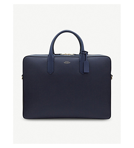 SMYTHSON Panama Large Leather Briefcase (Navy