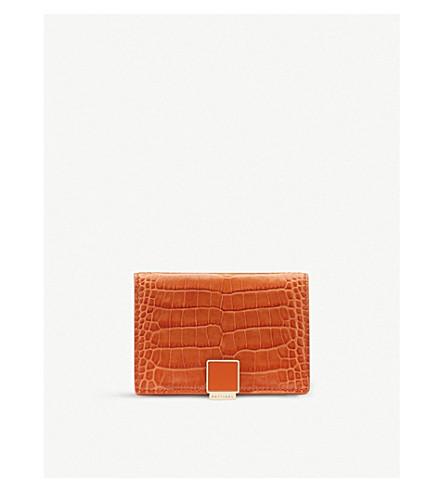 SMYTHSON Mara croc-effect leather business and credit card case (Papaya