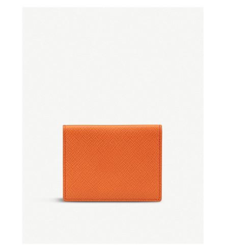 SMYTHSON Panama grained-leather travel pass holder (Papaya