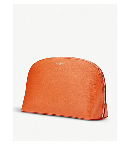 SMYTHSON Panama large grained-leather washbag (Papaya