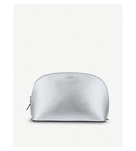 SMYTHSON Panama leather washbag large (Silver