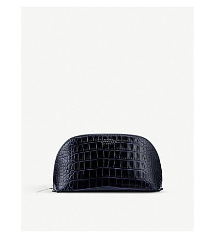 SMYTHSON Mara croc-print leather cosmetics case (Navy