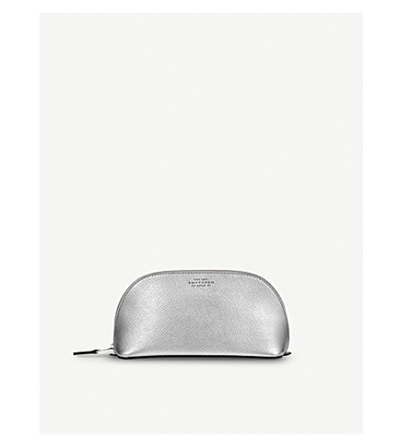 SMYTHSON Panama leather cosmetics case (Silver