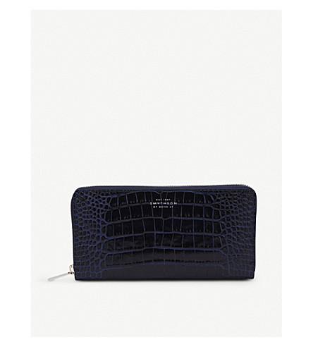 SMYTHSON Mara reptile-print leather purse (Navy
