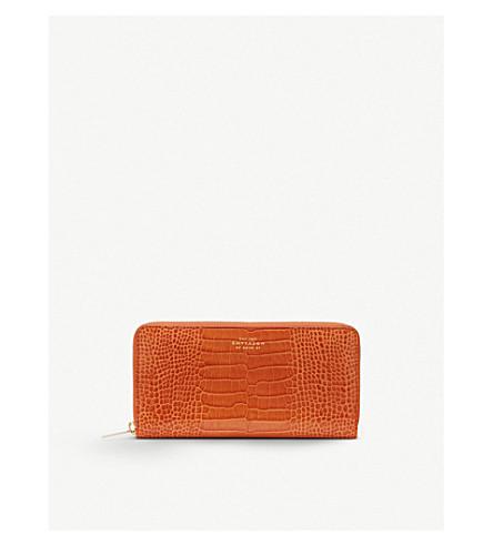 SMYTHSON Mara crocodile-printed calf leather large zip purse (Papaya