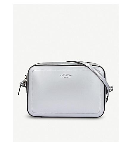 SMYTHSON Panama leather cross-body bag (Silver