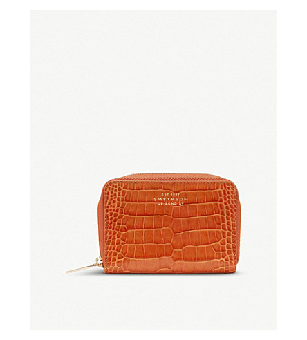 SMYTHSON Mara crocodile-printed calf leather zip coin purse (Papaya