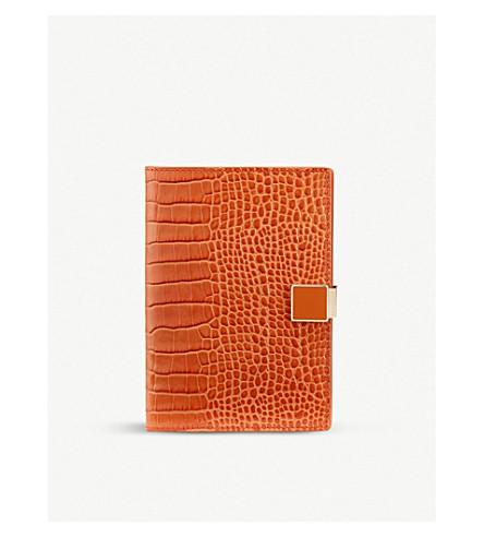 SMYTHSON Mara leather passport cover (Papaya