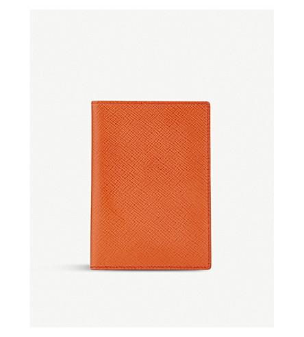 SMYTHSON Panama leather passport cover (Papaya