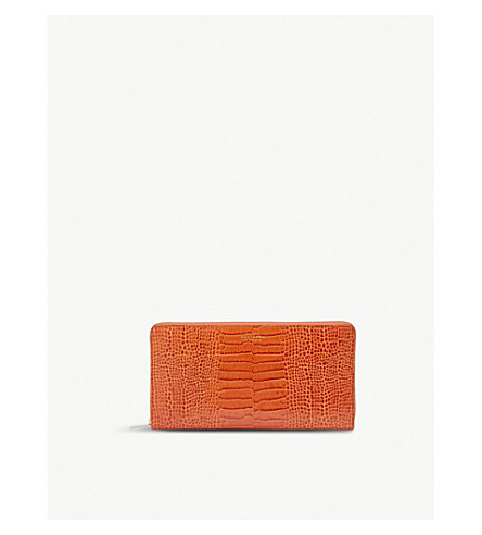 SMYTHSON Mara crocodile-print leather travel wallet (Papaya