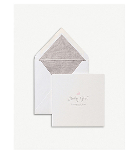 SMYTHSON Baby Girl rabbit card (White