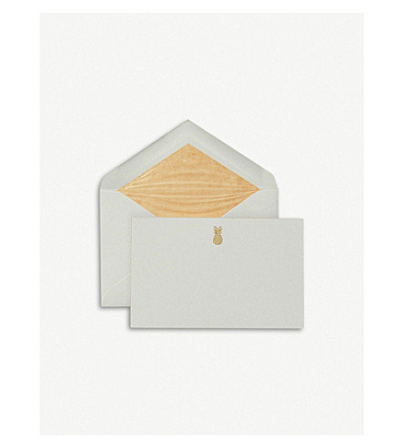 SMYTHSON Pineapple correspondence cards pack of 10 (Pale+green
