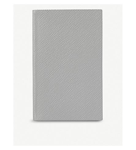 SMYTHSON Panama cross-grain leather notebook 14cm (Grey