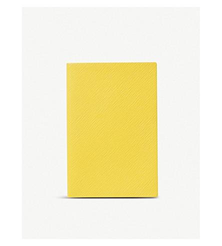 SMYTHSON Chelsea leather notebook 16.7x11.2cm (Lemon