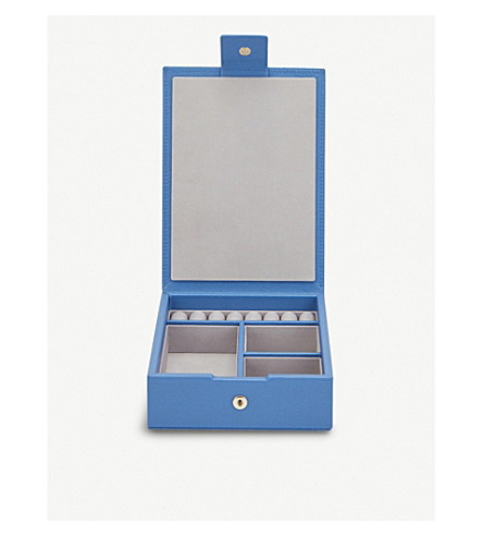 SMYTHSON Grosvenor Travel Tray leather jewellery box (Nile+blue