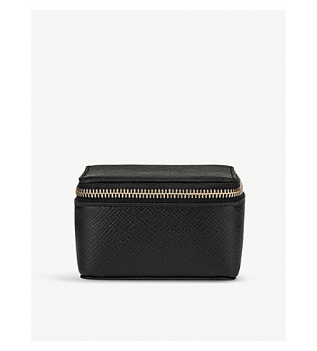 SMYTHSON Panama medium cross-grain leather trinket case (Black