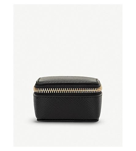 SMYTHSON Panama small cross-grain leather trinket case (Black