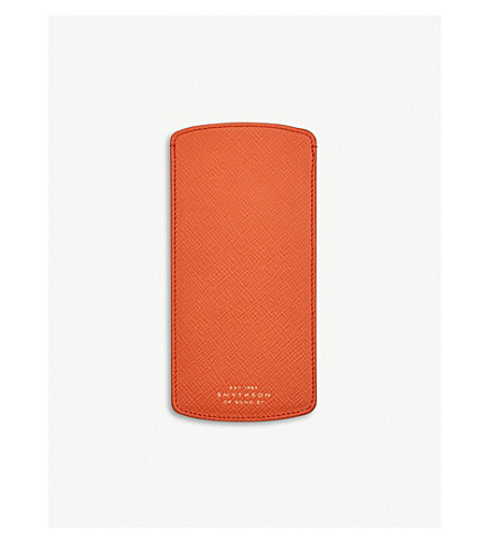 SMYTHSON Panama leather glasses case (Papaya