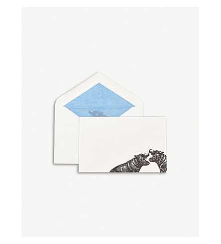 SMYTHSON Hippo correspondence cards pack of 10 (Prussian+blue