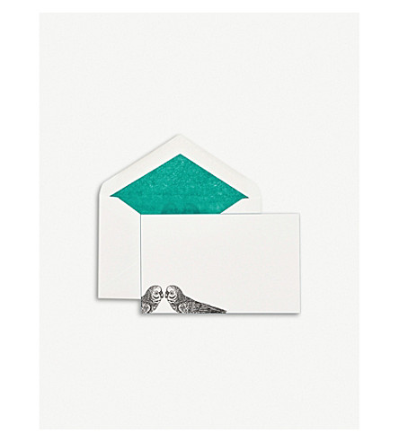 SMYTHSON Parakeet correspondence cards pack of 10 (Peach