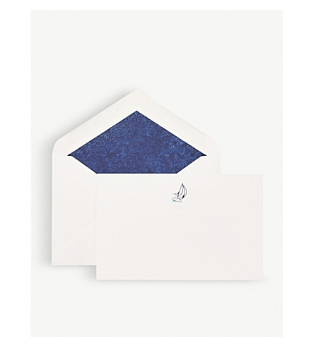 SMYTHSON Sailboat correspondence cards pack of 10 (White