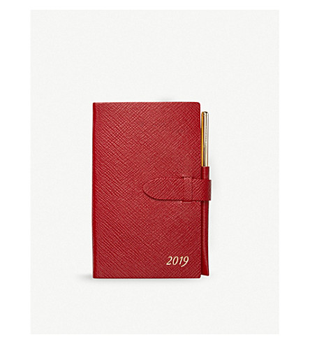 SMYTHSON Panama 2019 leather pocket diary with gilt pencil (Red