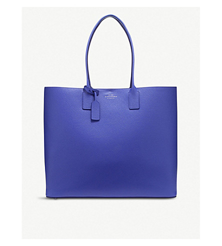 SMYTHSON Panama cross-grain leather East West tote bag (Cobalt