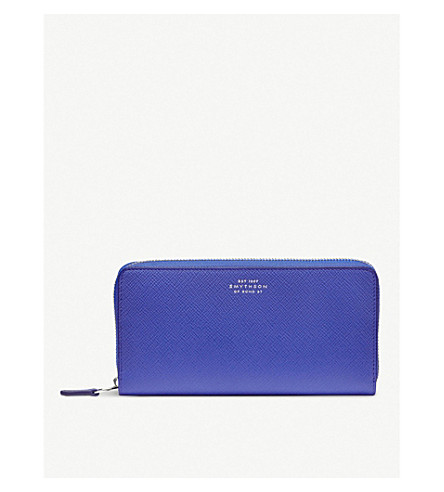 SMYTHSON Panama large cross-grained leather continental wallet (Cobalt
