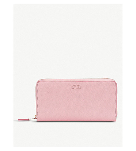 SMYTHSON Panama large cross-grained leather continental wallet (Candy+pink