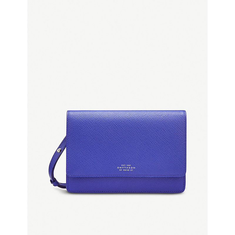 SMYTHSON Panama cross-grained leather wallet with strap