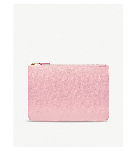 SMYTHSON Panama cross-grain leather travel pouch (Candy+pink