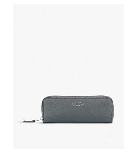 SMYTHSON Panama leather double pen case (Smoke