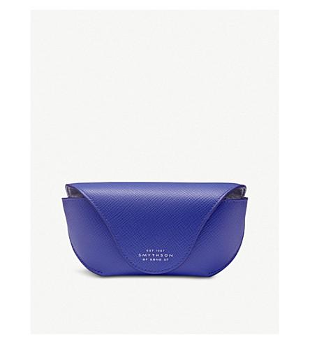 SMYTHSON Panama leather sunglasses case (Cobalt