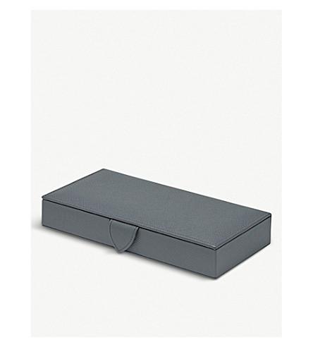 SMYTHSON Panama leather cufflink box 20cm (Smoke