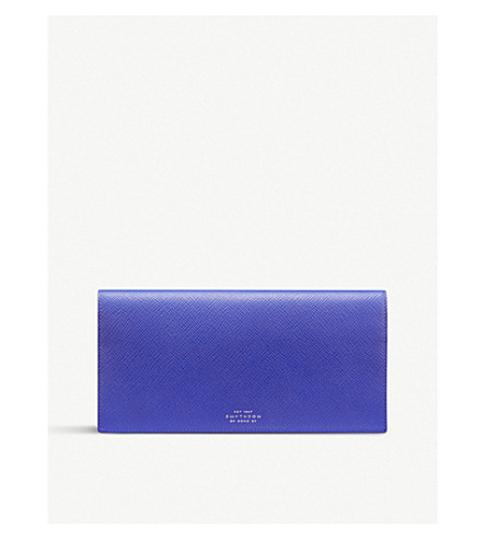 SMYTHSON Panama slim leather travel wallet (Cobalt