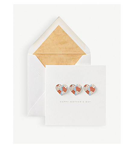 SMYTHSON Floral hearts mother's day card (White